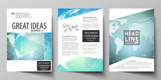 The vector illustration of editable layout of three A4 format modern covers design templates for brochure, magazine Stock Photography