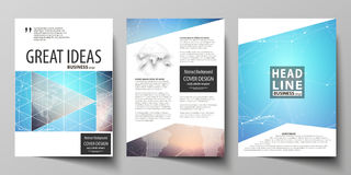 The vector illustration of editable layout of three A4 format modern covers design templates for brochure, magazine Stock Photos