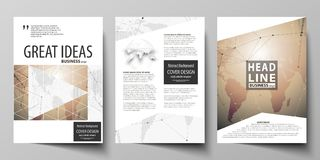 The vector illustration of editable layout of three A4 format modern covers design templates for brochure, magazine. Flyer, booklet. Global network connections Royalty Free Stock Photos