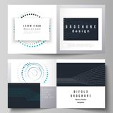 The vector illustration of the editable layout of two covers templates with simple geometric background made from dots. Circles, rectangles for square design stock illustration