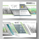 The vector illustration of the editable layout of two covers templates for square design bi fold brochure, magazine. Flyer, booklet. Rows of colored diagram Stock Photo