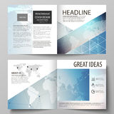 The vector illustration of editable layout of two covers templates for square design bi fold brochure, magazine, flyer Stock Image