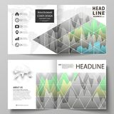 The vector illustration of the editable layout of two covers templates for square design bi fold brochure, magazine. Flyer, booklet. Rows of colored diagram Royalty Free Stock Photography