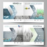 The vector illustration of the editable layout of two covers templates for square design bi fold brochure, magazine. Flyer, booklet. Rows of colored diagram Stock Image