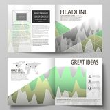 The vector illustration of the editable layout of two covers templates for square design bi fold brochure, magazine. Flyer, booklet. Rows of colored diagram Royalty Free Stock Photos