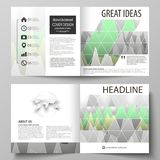The vector illustration of the editable layout of two covers templates for square design bi fold brochure, magazine. Flyer, booklet. Rows of colored diagram Royalty Free Stock Images