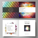 The vector illustration of the layout of two covers templates for square design bifold brochure, magazine, flyer. The vector illustration of the editable layout Royalty Free Stock Photo
