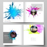 The vector illustration of the editable layout of two covers templates for square design bifold brochure, magazine. Flyer, booklet. Colorful watercolor paint royalty free illustration
