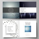 The vector illustration of the editable layout of two covers templates for square design bifold brochure, magazine. Flyer, booklet. Technology, science, future Royalty Free Stock Photo