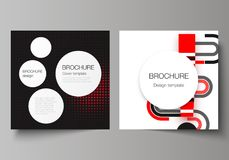 The vector illustration of editable layout of two covers templates for square design brochure, magazine, flyer, booklet. Abstract vector backgrounds in minimal Stock Photography