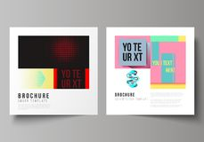 The vector illustration of editable layout of two covers templates for square design brochure, magazine, flyer, booklet. Abstract vector backgrounds in minimal Royalty Free Stock Photography
