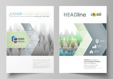 The vector illustration of the editable layout of two A4 format covers with triangles design templates for brochure. Flyer, booklet. Rows of colored diagram Royalty Free Stock Images