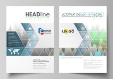 The vector illustration of the editable layout of two A4 format covers with triangles design templates for brochure. Flyer, booklet. Rows of colored diagram Stock Photo