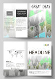 The vector illustration of the editable layout of two A4 format modern cover mockups design templates for brochure Royalty Free Stock Images