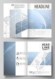 The vector illustration of the editable layout of two A4 format modern cover mockups design templates for brochure. Flyer, booklet. World globe on blue. Global royalty free illustration