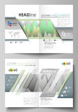 The vector illustration of the editable layout of two A4 format modern cover mockups design templates for brochure. Flyer, report. Rows of colored diagram with Royalty Free Stock Image