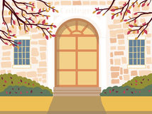Vector illustration of  education building. The door of the institution. Autumn urban background Stock Photography