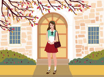Vector illustration of  education building with student. The door of the institution. Autumn urban background Royalty Free Stock Photo
