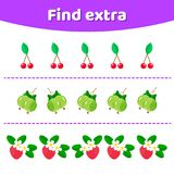 Vector illustration. Education game for preschool kids. Find extra object in sequence row. vector illustration