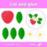 Vector illustration. Education paper game for preschool kids. Use scissors and glue to create the image. Red berry garden strawberry with flowers stock illustration