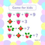 Vector illustration. Educational a mathematical game. Logic task. For children. Addition, subtraction stock illustration