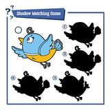 Shadow matching game with cartoon bird. Vector illustration of educational shadow matching game with cartoon character for children Stock Photo