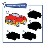 Shadow matching game with cartoon car. Vector illustration of educational shadow matching game with cartoon character for children Stock Photography