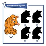 Shadow matching game with cartoon cat. Vector illustration of educational shadow matching game with cartoon character for children Stock Photo