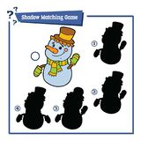 Snowman shadow matching game Royalty Free Stock Photo
