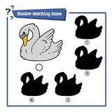 Swan shadow game. Vector illustration of educational shadow matching game with cartoon swan character for children Royalty Free Stock Photo