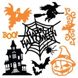 Eerie Halloween Paper Cut Silhouette Set. A vector illustration of eerie halloween paper cut silhouette set. This includes halloween design elements like jack-o stock illustration