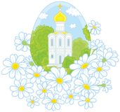 Easter egg with a church and flowers Royalty Free Stock Photo