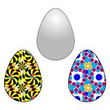 Vector illustration of an egg with a different color and texture filling with a contour on a white background.  Stock Illustration
