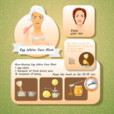 Vector illustration of Egg White Face Mask Recipes. Royalty Free Stock Image