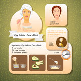 Vector illustration of Egg White Face Mask Recipes. Royalty Free Stock Photo