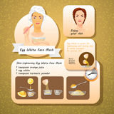 Vector illustration of Egg White Face Mask Recipes. Stock Photos