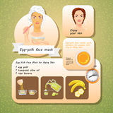 Vector illustration of Egg Yolk Face Mask Recipes. Stock Images