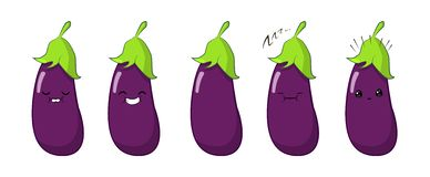Vector illustration of an eggplant Cute cartoon vegetable character set isolated on white. Emotions. Stickers. kawaii royalty free illustration