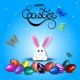 Vector illustration with eggs, hares and butterflies. Inscriptio vector illustration