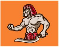 Egyptian Warrior Holding Weapon Game Cartoon Mascot Logo Badge. Vector Illustration of Egyptian Warrior Holding Weapon Game Cartoon Mascot Logo Badge royalty free illustration
