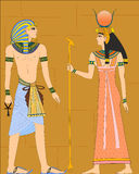 The vector illustration of egyptians on wall Stock Photo