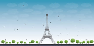 Vector illustration of Eiffel Tower Stock Images