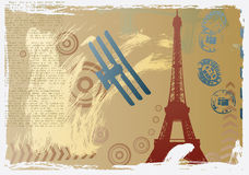 Vector illustration with eiffel tower drawing Royalty Free Stock Photos