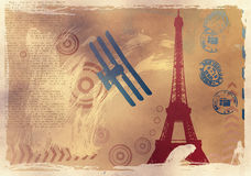 Vector illustration with eiffel tower drawing Royalty Free Stock Image