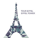 Vector illustration of Eiffel tower in low poly style. Polygonal image of tower in blue color group for postcards, prints or other design. World famous vector illustration