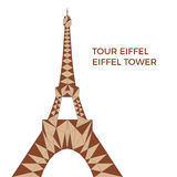 Vector illustration of Eiffel tower in low poly style. Polygonal image of tower in brown color group for postcards, prints or other design. World famous stock illustration
