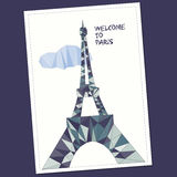 Vector illustration of Eiffel tower in low poly style. Polygonal image of tower for postcard, prints or other design. World famous landmark stock illustration