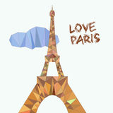 Vector illustration of Eiffel tower in low poly. Style. Polygonal image of towers in brown colors for postcards, prints or other design. World famous landmark Stock Photos