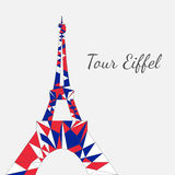 Vector illustration of Eiffel tower in low poly. Vector illustration of Eiffel towers in low poly style. Polygonal image of towers in french flag tricolor for royalty free illustration