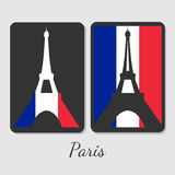 Vector illustration of Eiffel tower magnet design. Stylish elements with colors of antional flag. For souvenir design or print royalty free illustration